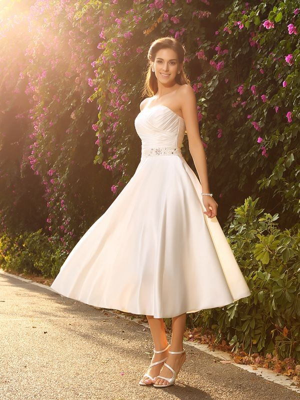 Time to Shine Princess Style Sweetheart Beading Short Satin Wedding Dresses