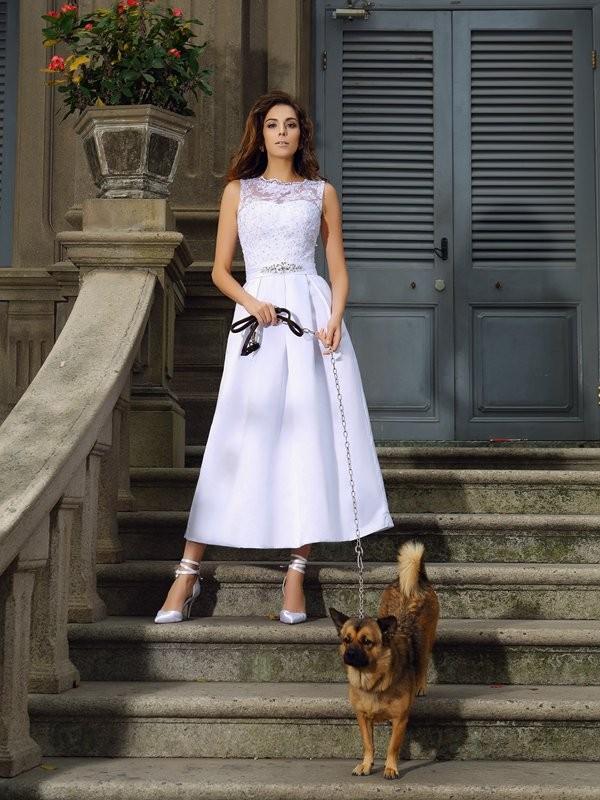 Efflorescent Dreams Princess Style Bateau Applique Long Satin Wedding Dresses
