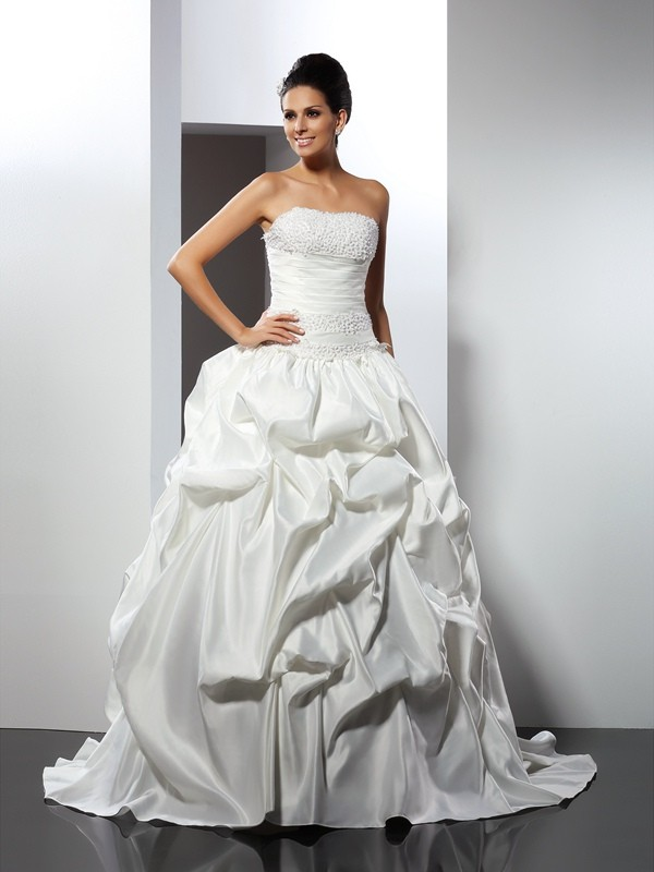 Festive Self Ball Gown Strapless Long Satin Wedding Dresses