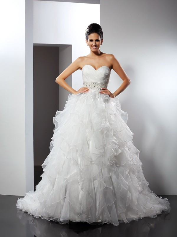 Styled to Smile Ball Gown Sweetheart Ruffles Long Organza Wedding Dresses