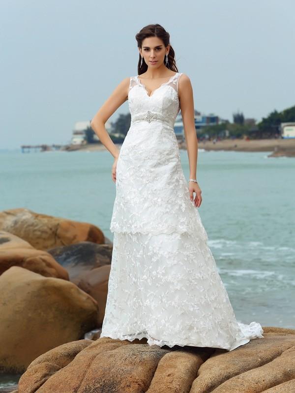 Confident Option Princess Style Straps Applique Long Satin Beach Wedding Dresses