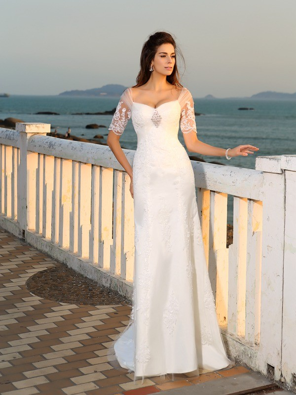 Fabulous Fit Sheath Style Sweetheart Applique Long Satin Beach Wedding Dresses