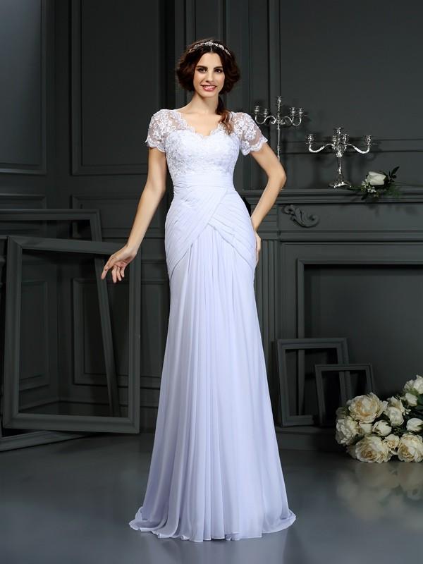 Too Much Fun Sheath Style V-neck Lace Long Chiffon Wedding Dresses