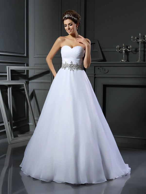 Open to Adoration Ball Gown Sweetheart Beading Long Satin Wedding Dresses
