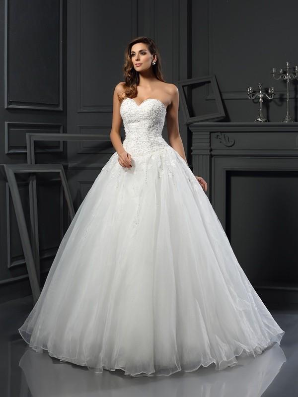Stylish Refresh Ball Gown Sweetheart Beading Long Tulle Wedding Dresses
