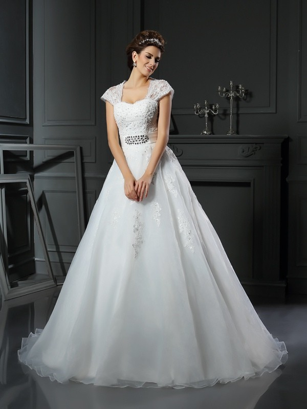 Defined Shine Ball Gown Square Beading Long Organza Wedding Dresses
