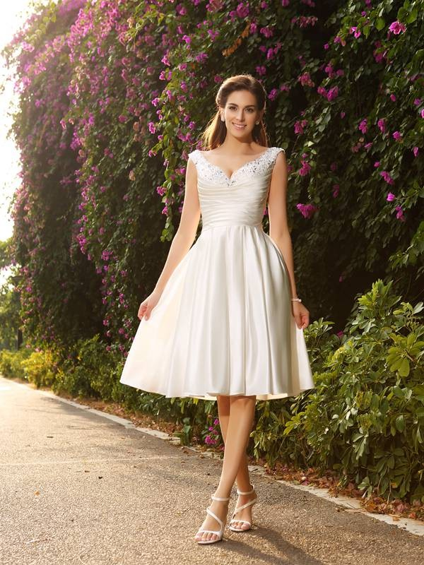 Fresh Picks Princess Style V-neck Beading Short Satin Wedding Dresses
