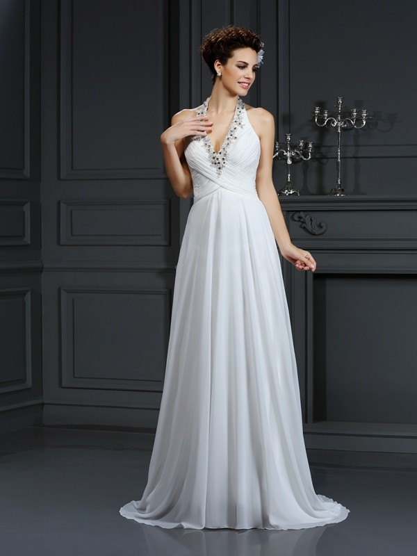 Easily Adored Princess Style Halter Beading Long Chiffon Wedding Dresses