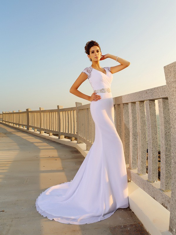 Dashing Darling Sheath Style V-neck Beading Long Chiffon Beach Wedding Dresses