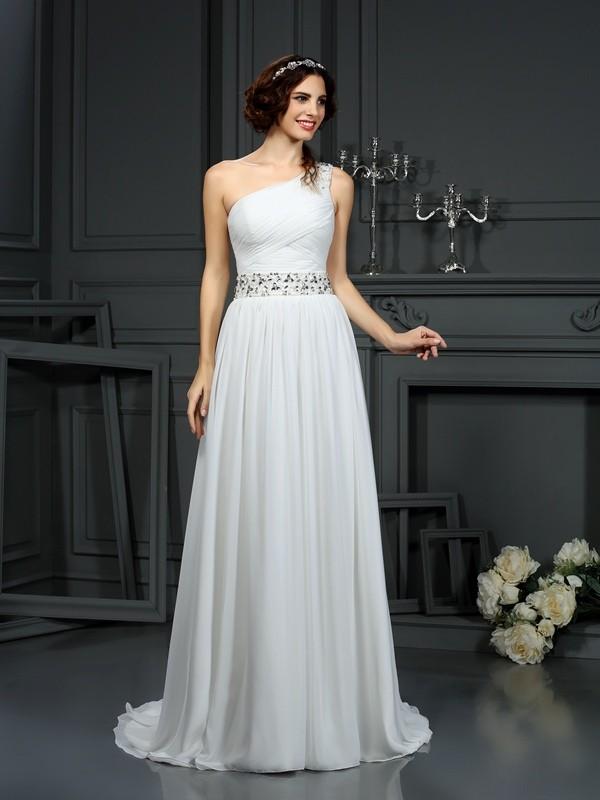 Savor the Occasion Princess Style One-Shoulder Beading Long Chiffon Wedding Dresses