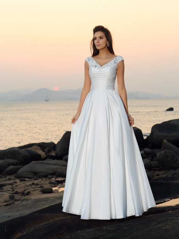 Absolute Lovely Princess Style V-neck Beading Long Taffeta Beach Wedding Dresses