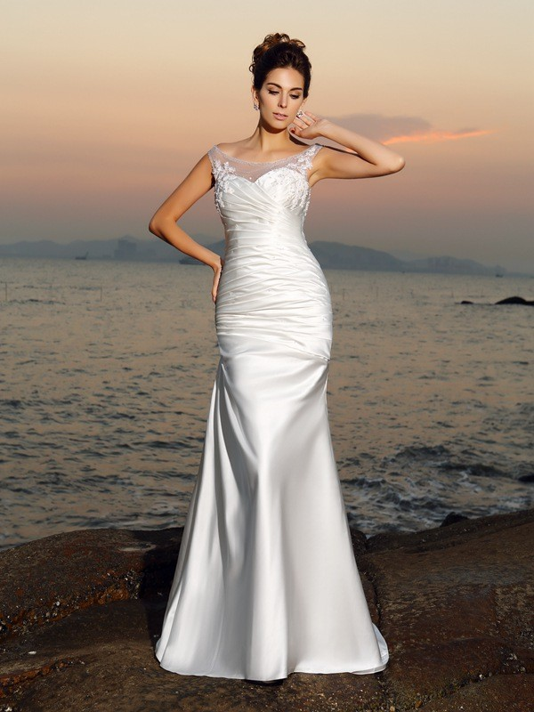 Aesthetic Honesty Mermaid Style Scoop Beading Long Satin Beach Wedding Dresses