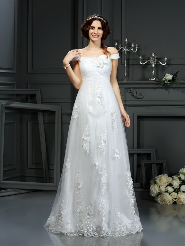 Pleasant Emphasis Princess Style Off-the-Shoulder Applique Long Net Wedding Dresses
