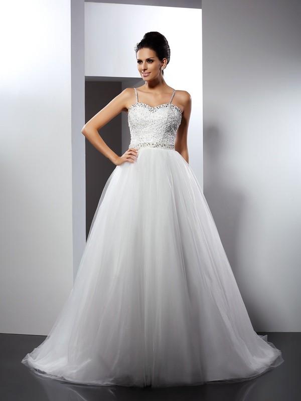 Limitless Looks Princess Style Spaghetti Straps Beading Long Tulle Wedding Dresses