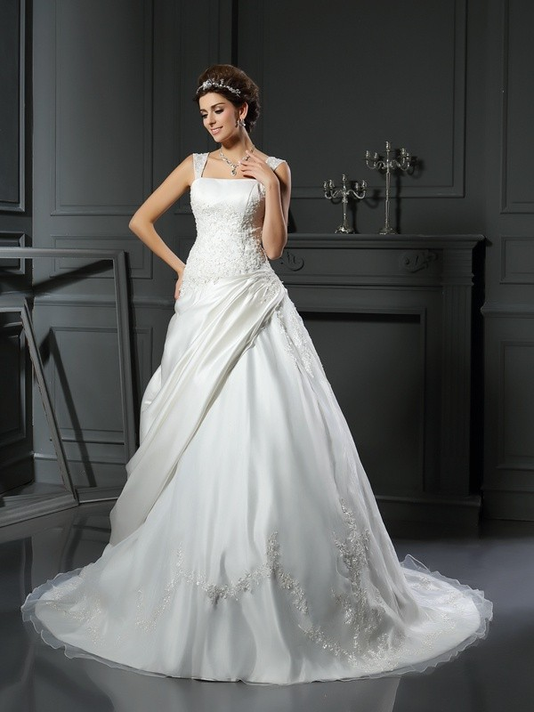 Desired Spotlight Ball Gown Straps Applique Long Satin Wedding Dresses