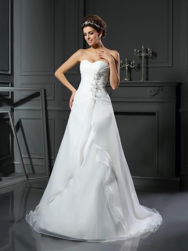 Sweet Sensation Princess Style Sweetheart Ruched Long Satin Wedding Dresses