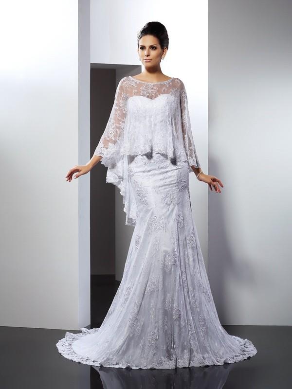 Festive Self Mermaid Style Sweetheart Applique Long Lace Wedding Dresses
