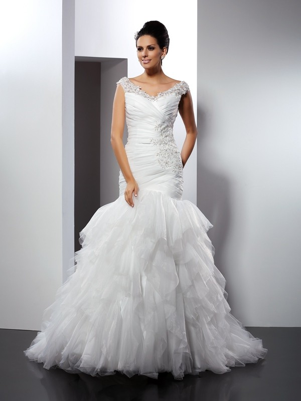 Styled to Smile Mermaid Style V-neck Applique Long Tulle Wedding Dresses
