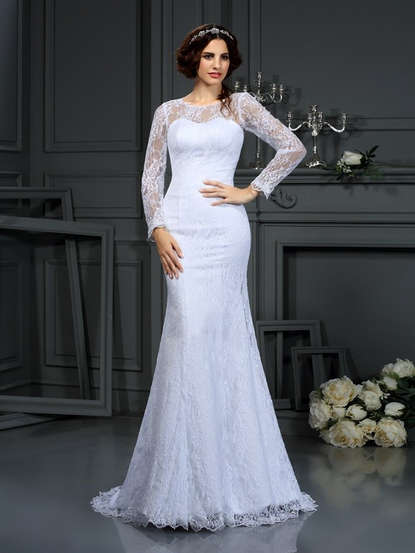 First Impressions Sheath Style Scoop Lace Long Satin Wedding Dresses