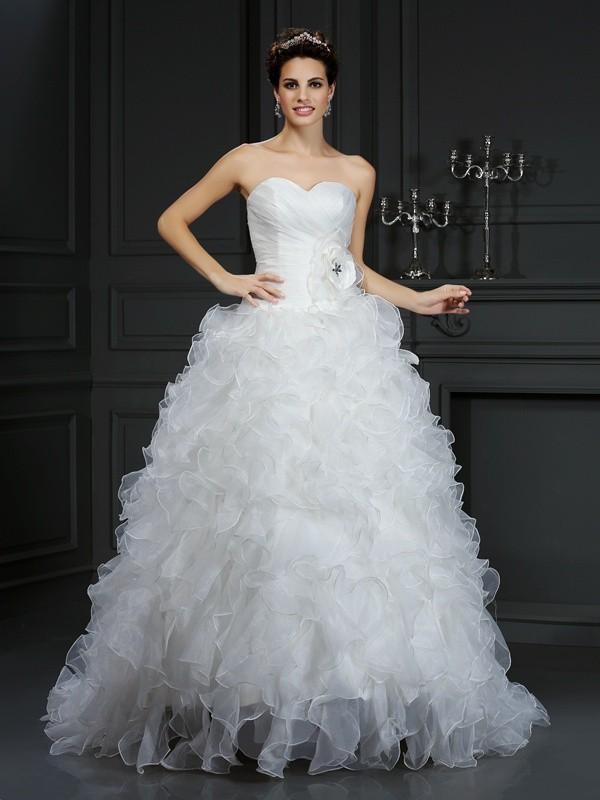 Fabulous Fit Ball Gown Sweetheart Hand-Made Flower Long Organza Wedding Dresses