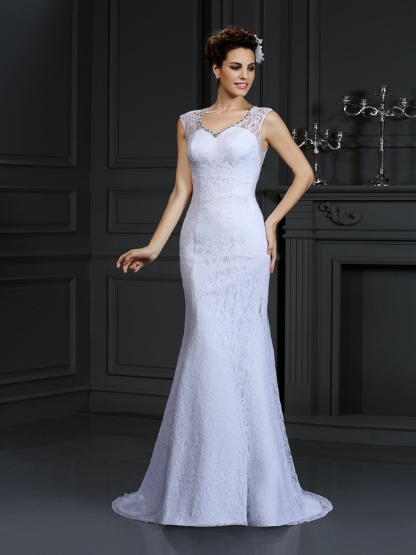 Too Much Fun Sheath Style V-neck Lace Long Satin Wedding Dresses