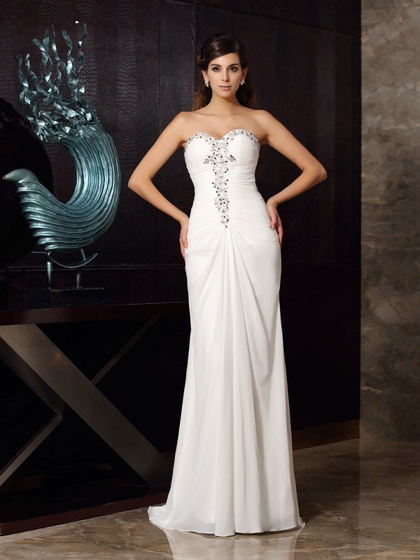 Open to Adoration Mermaid Style Sweetheart Beading Long Chiffon Dresses