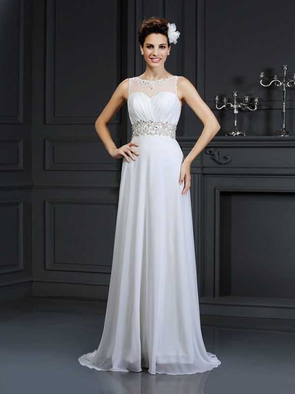 Dancing Queen Princess Style Bateau Ruffles Long Chiffon Wedding Dresses