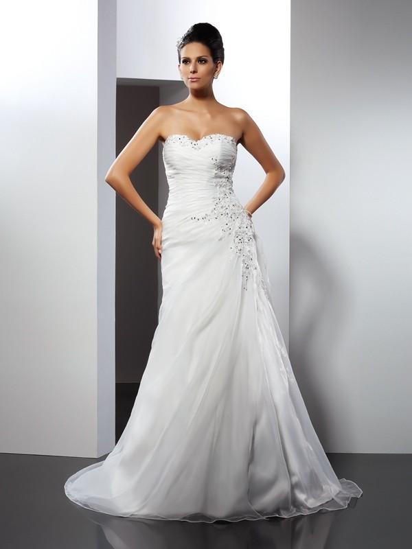 Stylish Refresh Princess Style Sweetheart Applique Long Organza Wedding Dresses
