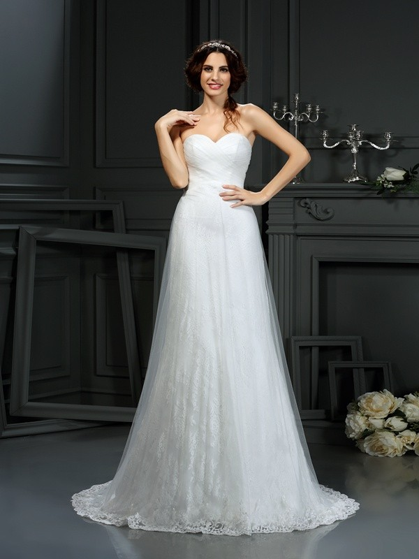Lively Identity Princess Style Sweetheart Pleats Long Net Wedding Dresses
