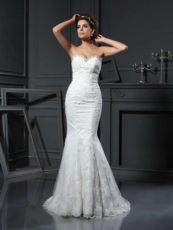 Yours Truly Sheath Style Sweetheart Beading Long Net Wedding Dresses