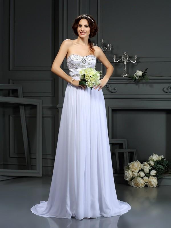 Just My Style Princess Style Sweetheart Beading Long Chiffon Wedding Dresses