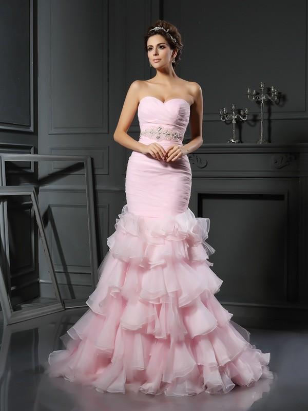 Defined Shine Mermaid Style Sweetheart Beading Long Organza Wedding Dresses