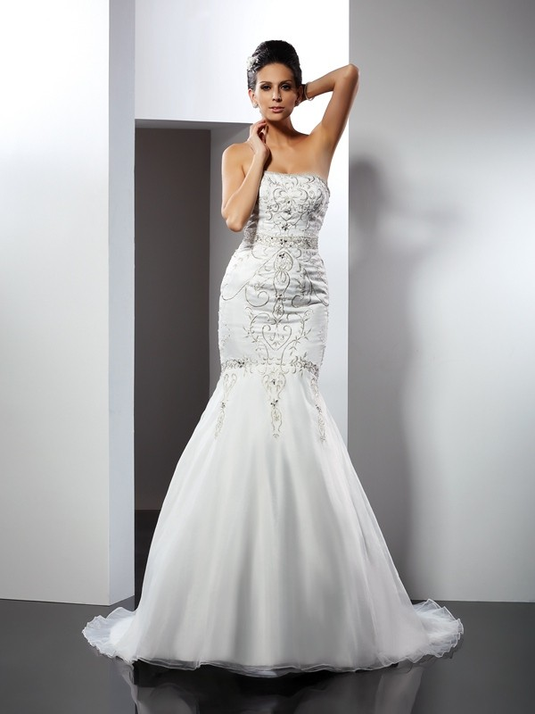Beautiful You Mermaid Style Strapless Applique Long Satin Wedding Dresses