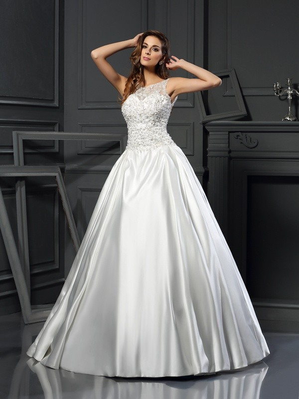 Easily Adored Ball Gown Scoop Applique Long Satin Wedding Dresses