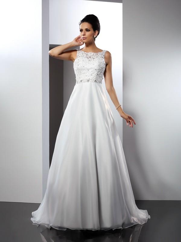 Dashing Darling Princess Style Scoop Ruffles Long Satin Wedding Dresses