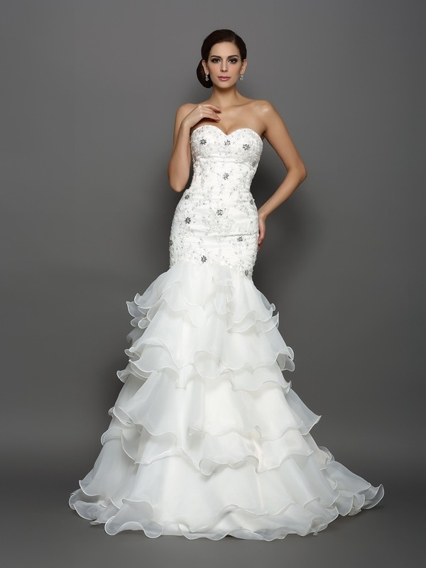 Befits Your Brilliance Mermaid Style Sweetheart Beading Applique Long Organza Wedding Dresses