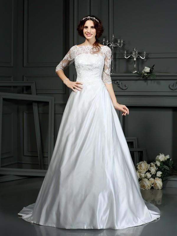 Aesthetic Honesty Princess Style Bateau Lace Long Satin Wedding Dresses