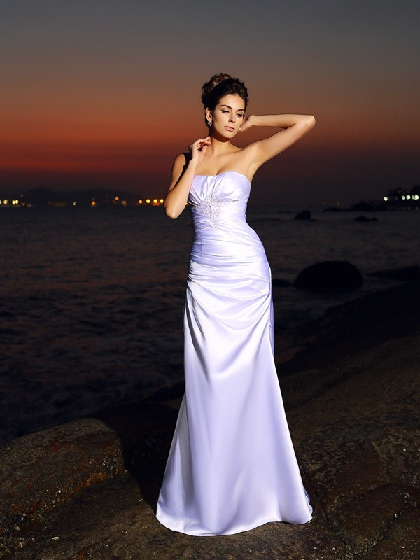 Treasured Reveries Mermaid Style Sweetheart Long Elastic Woven Satin Beach Wedding Dresses