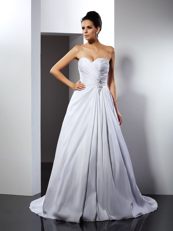 Desired Spotlight Princess Style Sweetheart Ruffles Long Teffeta Wedding Dresses