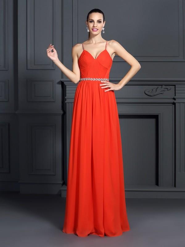 Fabulous Fit Princess Style Spaghetti Straps Beading Long Chiffon Dresses