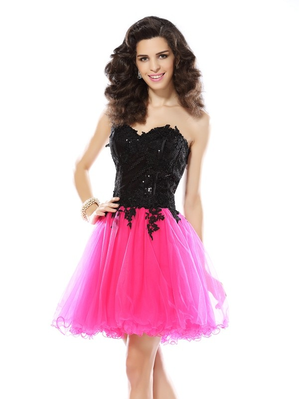 Cheerful Spirit Princess Style Sweetheart Lace Short Net Cocktail Dresses