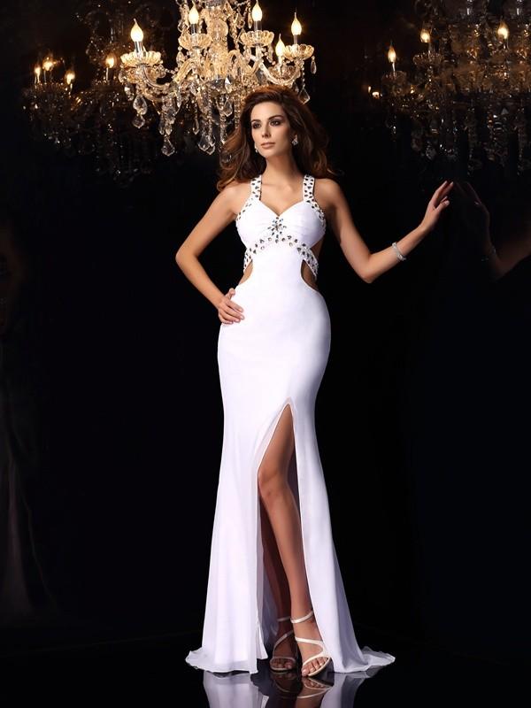 Vibrant Stylist Mermaid Style Straps Ruffles Long Chiffon Dresses