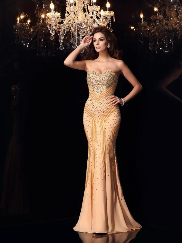 Romantic Vibes Mermaid Style Sweetheart Beading Long Chiffon Dresses