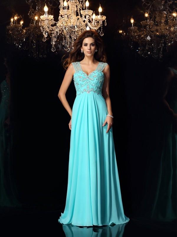Fresh Picks Princess Style Sweetheart Beading Long Chiffon Dresses