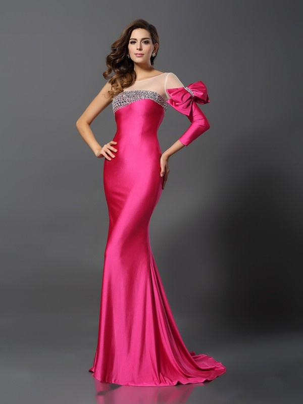 Embracing Grace Mermaid Style Bateau Bowknot Long Spandex Dresses