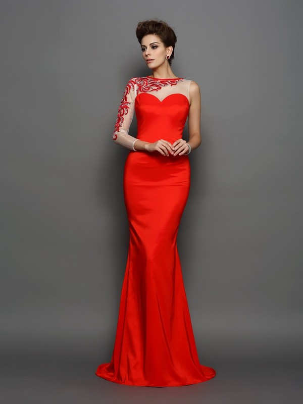 Modern Mood Mermaid Style High Neck Embroidery Long Elastic Woven Satin Dresses