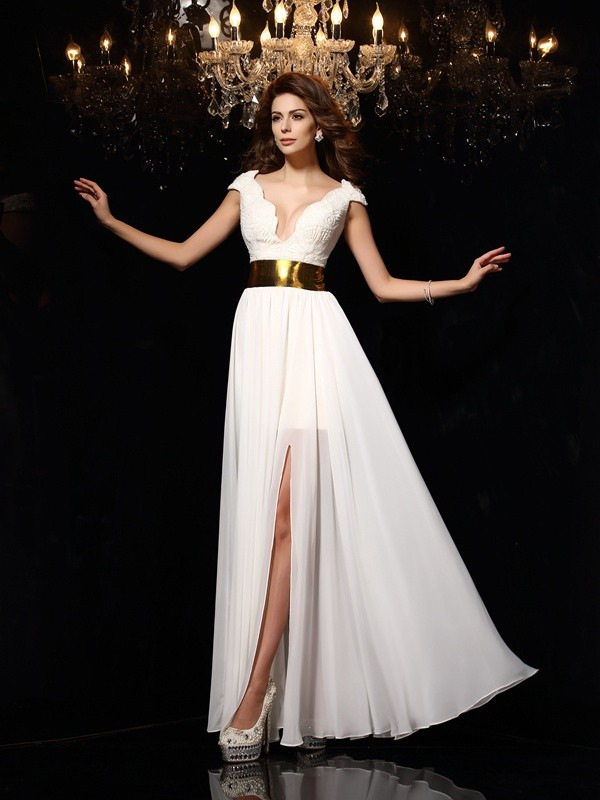 Pleasant Emphasis Princess Style V-neck Lace Long Chiffon Dresses