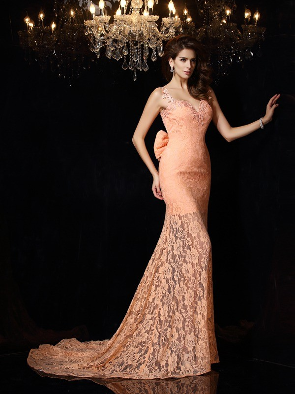 Limitless Looks Sheath Style Straps Lace Long Satin Dresses
