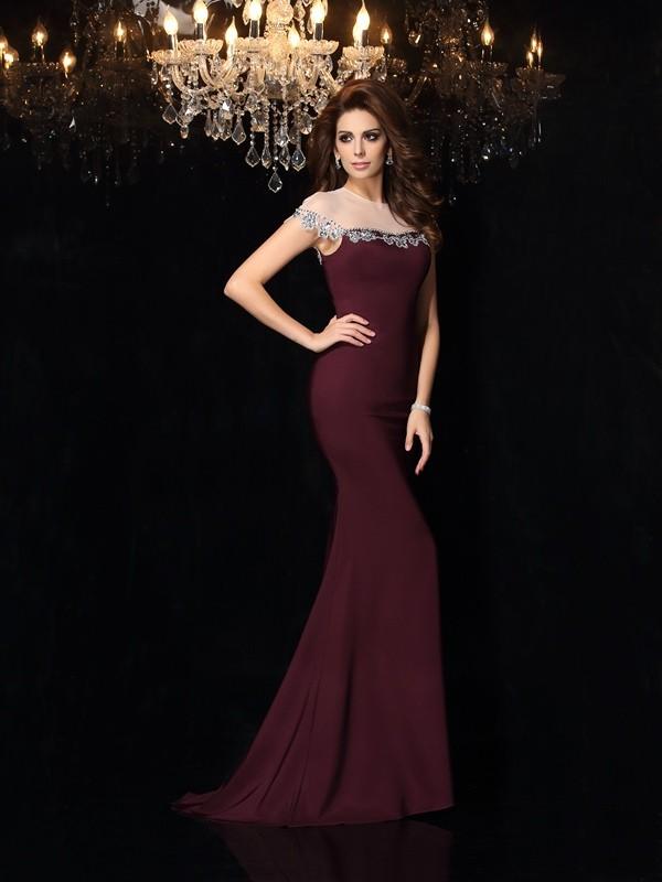 Desired Spotlight Mermaid Style High Neck Applique Long Elastic Woven Satin Dresses