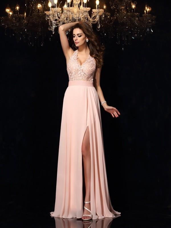 Confident Option Princess Style Halter Lace Long Chiffon Dresses